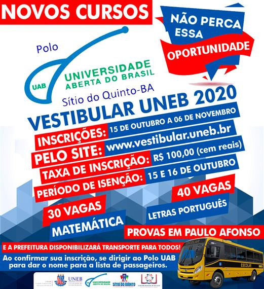 Vestibular UNEB 2020 - Polo UAB Sítio do Quinto
